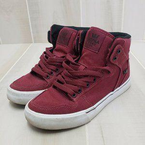 Supra Vaider Skate Shoes Men's 6.5 Burgundy Maroon